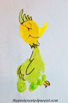 This footprint bird craft is inspired by What Pet Should I Get by Dr. Seuss 0