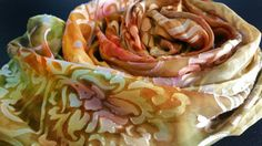 Handpainted silk scarf in golds and olive. Etsy shop https://www.etsy.com/listing/237438281/olive-and-gold-handpainted-silk-scarf