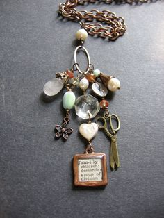 Copper Charm Dictionary Word Necklace by SimpleElementsDesign find supplies #word charms #bezels #glass domes #chains #stamping blanks at eCrafty.com