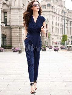 [35,50€] Salopette femme polyester bleu sexy