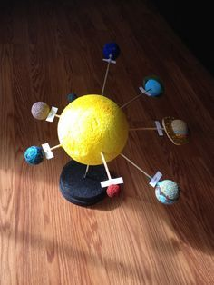 50 Marvelous DIY Solar System Crafts, Activities and Decorations with an 'Oomph' Factor Solar System Model Project, Solar System Projects For Kids, Solar System Art, Solar System Crafts, Solar System Planets, Science Experiments For Preschoolers, Science For Kids, Science Projects, School Projects