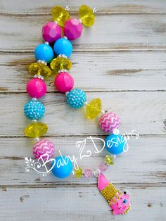 Shopkins Inspired Chunky Necklace in Yellow by babyzdesigns