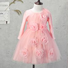 Baby Girls Dresses Kids Clothes Children Dress for Girls Clothes Full of Flowers Princess Dress Christmas Ball Gown 3-9Y pink(China (Mainland))