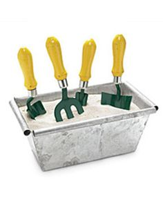 Now, where did you leave your trusty trowel? Next time,  stick your garden hand tools in a container filled with sand and a little motor oil. It helps scrape off the dirt, prevents rusting, and keeps them at hand.