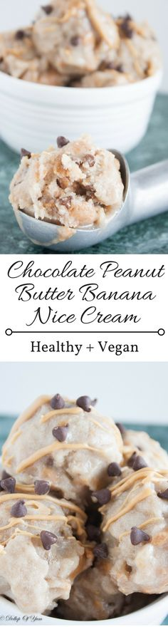 Chocolate Peanut Butter Banana Nice Cream. A decadent dessert that is healthy, vegan, gluten free, and dairy free!