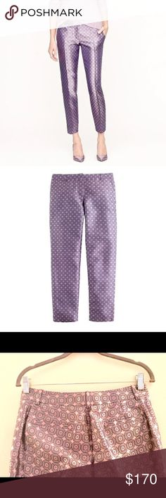 """J Crew Silk Jacquard Pants Sz 0 NWT Retail $228 J Crew Silk Ankle Tile Jacquard Capri Pants Trousers Size 0 NWT Retail $228 SOLD OUT!  Sourced from a mill in Switzerland that's famous for its tie silks, this vibrant jacquard fabric was handpicked by our design team for its modern take on menswear (we love the light lavender hues and subtle sheen).  * Silk. * City fit—our lowest rise. * Sits just above hip. * Fitted through hip and thigh, with a skinny, cropped leg 27"""" inseam. * Item 29095…"""