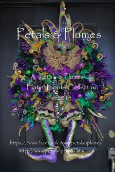 "petals plumes wreaths | Mardi Gras Wreath - ""Court Jester"" by Petals & Plumes 