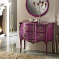 Home & Glamour - Purple Chest of Drawers - traditional - dressers chests and bedroom armoires - new york - Nella Vetrina Funky Furniture, Distressed Furniture, Paint Furniture, Furniture Makeover, Chest Furniture, Purple Chest Of Drawers, Pink Dresser, Chest Drawers, Dresser Mirror
