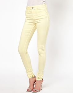 """""""Ridley"""" supersoft high waisted ultra skinny jeans in lemon (ASOS)"""