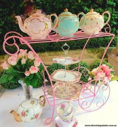 Tea trolley holding a collection.