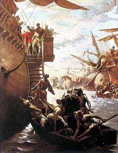"""Ramon Tusquets, """"Batalla del Golfo de Nápoles. Roger de Llúria captura al Príncipe de Salerno, Carlos d'Anjou"""" 1885"""