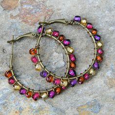 Hoop earrings bohemian jewelry colorful by SongbirdCabinDesigns, $14.00