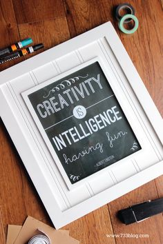 Creativity is Intelligence having Fun Free Printable Chalkboard Art Print