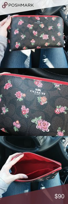 Coach Floral Logo Make Up Bag NWT. Leather, comes with little Coach gift box and paper. Will ship same day! Lined with red fabric, very cute. Medium sized Coach Bags Cosmetic Bags & Cases