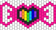Rainbow Heart Bow Mask Bead Pattern