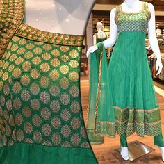Green net churidhar with elegant border. Price: Rs 5365. To view more chudidhars m.pothys.com