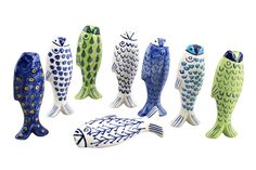 Fish Nautical Light Pull Handle - Assorted Designs - 1 Supplied - White & Blue Ceramic - Cord Pull for Bathroom Lighting Blinds Curtains Ceilings Fans: Amazon.co.uk: Kitchen & Home