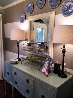 Striped walls, buffet, Annie Sloan Duck Egg, blue and white plates