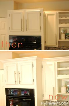 Kitchen cabinet makeover -- height added with board and crown ...