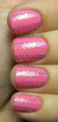Neverland Nail Blog: Laser Strands Striped Mani!