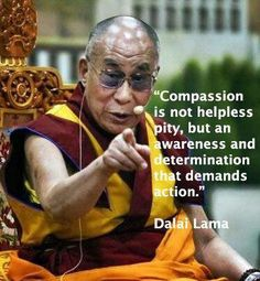 """""""Compassion is not helpless pity, but an awareness and determination that demands action."""" ~Dalai Lama"""