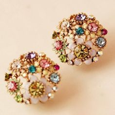$3.84 Pair of Delicate Rhinestone Colored Flower Earrings For Women