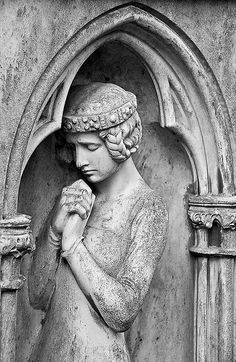 Silent prayer / Stilles Gebet    A female figure on one of the older graves at the main cemetery in Frankfurt