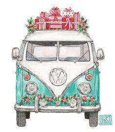Christmas VW, Christmas volkswagen, greeting cards, classic car inspiration, k. Berrigan art, etsy KBerriganArt
