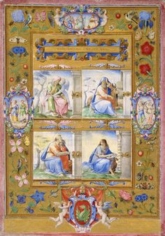 Circle of Giulio Clovio Italian, 1498-1578 The Four Evangelists, within a Border of Flowers, Birds, and Insects, 1572