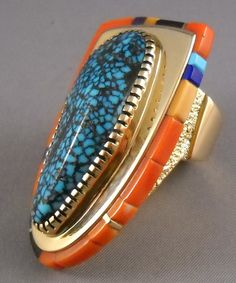 """Sonwai, Verma Nequatewa, Hopi, niece of Charles Loloma, mosaic coral and Lander Blue turquoise ring, ca. 1990-2000s. For an artist biography, see """"American Indian Jewelry I & III,"""" by Gregory and Angie Schaaf."""