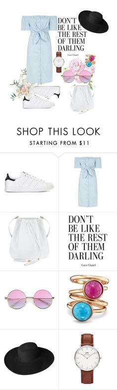 """""""Simple everyday"""" by suzanna-p ❤ liked on Polyvore featuring adidas, Topshop, Avon, Dorfman Pacific, Daniel Wellington, hat, shirt, dw and offshoulder"""