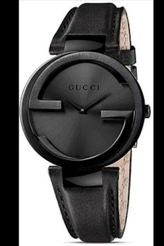 This stunning women's watch from Gucci features a black stainless steel case with a coordinating black calfskin leather strap. The black sun-brushed dial is home to tapered black hands and a Gucci log Gucci Watches For Men, Diesel Watches For Men, Mens Designer Watches, Luxury Watches For Men, Fashion Watches, Nice Watches, Men's Fashion, Black Watches, Elegant Watches