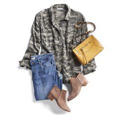 Easy Fall Outfit Ideas Cheap Fashion, Fashion Women, Fashion 2018, Big Fashion, Fashion Tips, Fashion Outfits, Fashionable Outfits, Camo Shirts, Luxury Dress