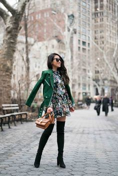 Spring Ready :: Floral dresses & Suede jackets :: Outfit :: J A C K E T ::  Veda suede jacket D R E S S ::  H&M floral dress S H O E S ::  Stuart Weitzman boots B A G ::  Celine A C C E S S O R I E S ::  Karen Walker sunglasses | Audry Rose baguette ring | Catbird band  PUBLISHED: February 12, 2018