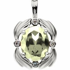 Platinum Oval Cut Lemon Quartz and Diamond Pendant Gems-is-Me. $1123.29. FREE PRIORITY SHIPPING. This item will be gift wrapped in a beautiful gift bag. In addition, a 'gift message' can be added.. Save 40%!