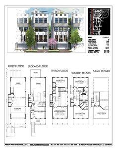 New Townhomes Plans, Townhouse Development Design, Brownstones, Rowhou – Preston Wood & Associates The Plan, How To Plan, Modern House Plans, House Floor Plans, Townhouse Exterior, The Sims 2, Townhouse Designs, Narrow House, Best Flooring
