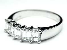 Five Stone Emerald Cut Diamond Wedding Band