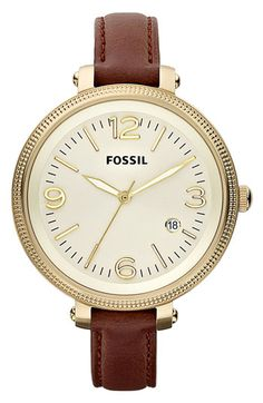 Fossil Round Leather Strap Watch available at #Nordstrom    ABSOLUTE ADORE!!! Definitely my new favorite!!
