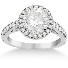 Allurez Eternity Pave Halo Diamond Engagement Ring Setting Palladium... ($1,750) ❤ liked on Polyvore featuring jewelry, rings, crown wedding rings, pave wedding ring, pave ring, diamond engagement rings and diamond wedding rings