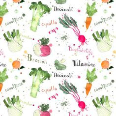 Winter veggies and lettering pattern - Yummy patterns - Giorgia Bressan Illustration