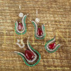 Hurrem Sultan Set Tulip Form Tear Drop Shape Ruby Color 925 Sterling Silver #Unbranded