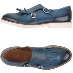 L'autre Doucal's Moccasins ($215) ❤ liked on Polyvore featuring shoes, loafers, slate blue, blue leather moccasins, blue shoes, loafers & moccasins, leather moccasins and blue leather shoes