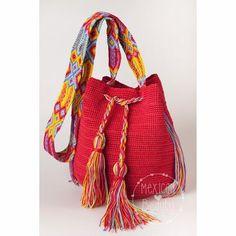 Crochet Multicolor bag / Bucket Handbag with tassels / Mexican Crochet Bag / Cross body bag / Gift for her / Many Colors / Morral Maya Beau Crochet, Crochet Cross, Red Bags, Brown Bags, Hippie Bags, Pattern Images, Boho, Beautiful Crochet, Bucket Handbags