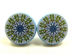 Round stud earrings,  decoupage jewelry,  teen by JewelryByJolanta, $18.00
