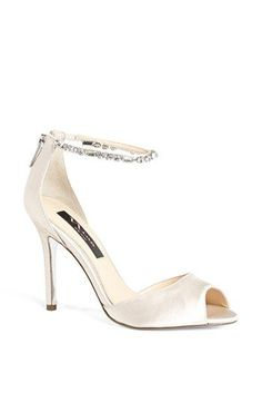 Menbur bridal shoes with rhinestone ankle strap at the @Nordstrom #Wedding Suite