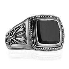 Scott Kay Men's Sterling Silver Onyx Engraved Ring