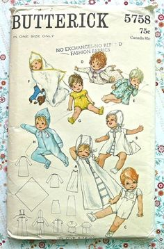 Butterick 5758  Vintage 1960s Baby Layette Pattern by Fragolina, $6.50