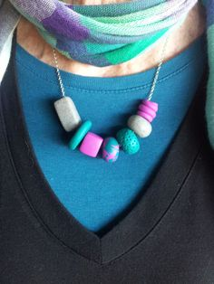 Polymer Clay Necklace Emerald Magenta Grey by EmbellishHandmade, $25.00