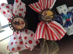 Pinup style bows on a aligator clip. Stripes or polka dots on bronze vintage resin.  $6 each