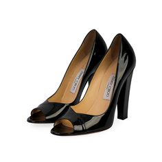 Gorgeous and glamorous, these block heel pumps from Jimmy Choo are sure to make you look divine.  ITEM CONDITION: Pre-owned – Very good condition.  SUPPLIED WITH: These shoes are supplied with a Luxity dust bag.  SIZE: 39 – (UK size 6)  THE LEFT SHOE: Very good condition – The sole shows normal signs of wear.  THE RIGHT SHOE: Very good condition – The sole shows normal signs of wear. Black And White Heels, Black Pumps Heels, Jimmy Choo, Block Heels, Patent Leather, Dust Bag, Peep Toe, Glamour, How To Wear
